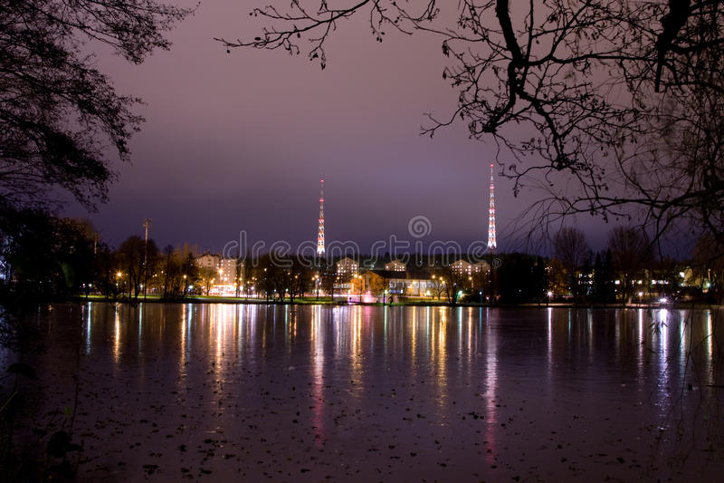 pejzaż miejski wieczór Finland Lahti zdjęcie royalty free