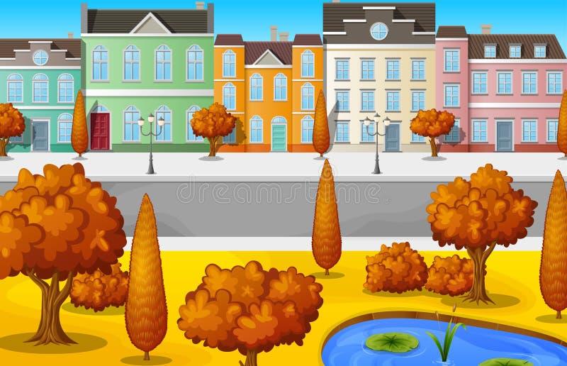 Pejzaż miejski z budynkami i drzewa w jesieni przyprawiamy ilustracja wektor