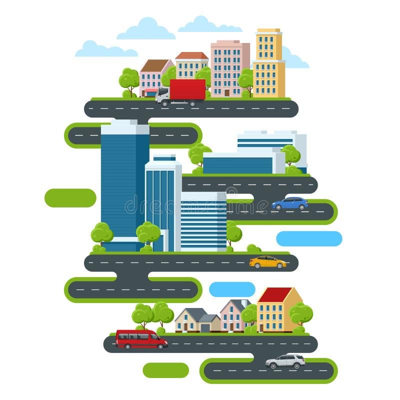 Pejzaż miejski z drapacz chmur, centrum biznesu i domami na wsi, Pojęcie utrzymanie na zewnątrz miasta wewnątrz działania i ilustracji