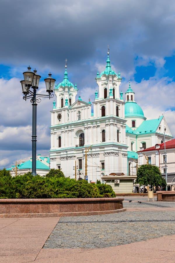 Pejzaż miejski z katedrą St Francis Xavier w Grodno zdjęcia stock