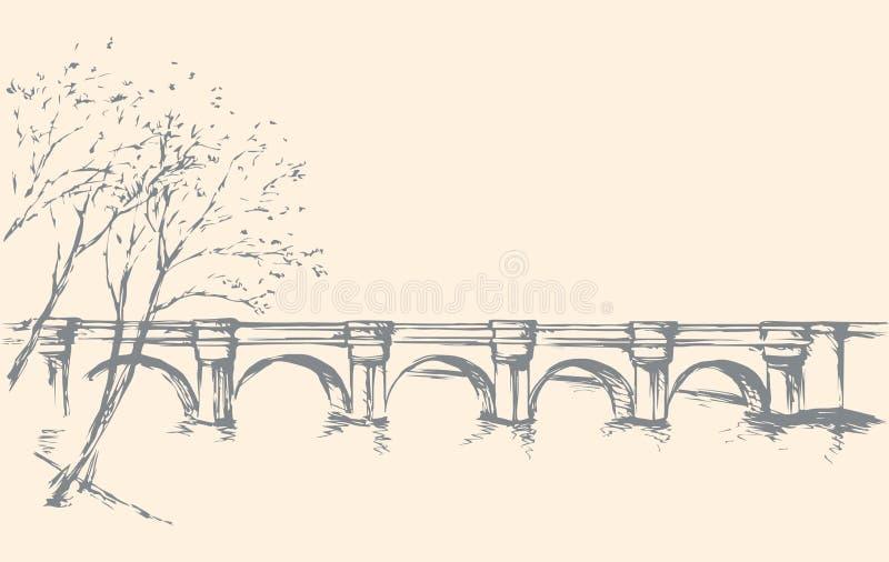 Pejzaż miejski z mostem nad rzeką rysuje tła trawy kwiecistego wektora royalty ilustracja