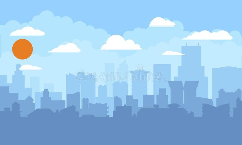 Pejzaż miejski z niebieskim niebem, biel chmurami i słońcem, Nowożytnej miasto linii horyzontu płaski panoramiczny tło Płaskiego  ilustracji