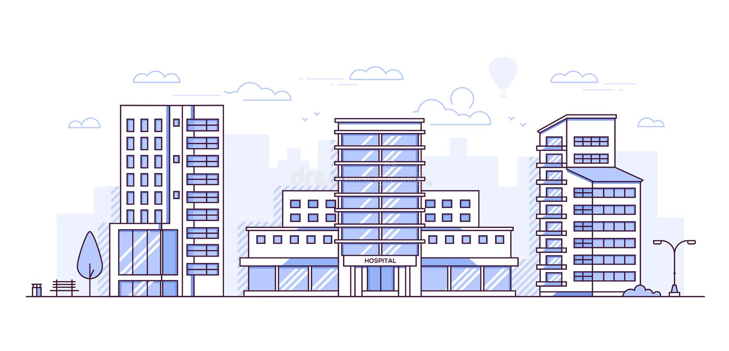 Pejzaż miejski z szpitalem - nowożytna cienka kreskowa projekta stylu wektoru ilustracja royalty ilustracja