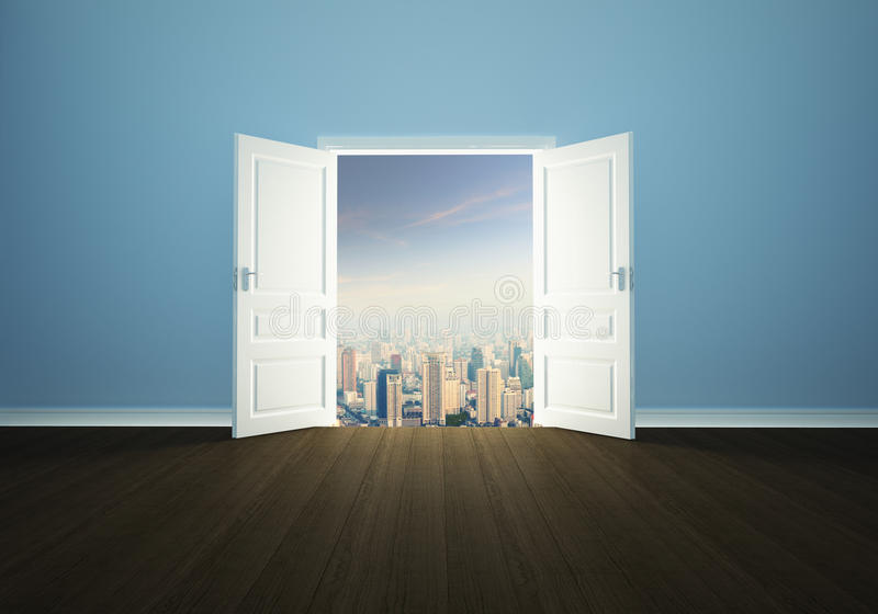 Pejzaż miejski za drzwi ilustracji