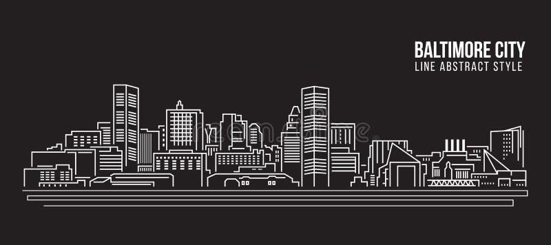 Pejzażu miejskiego budynku Kreskowej sztuki Wektorowy Ilustracyjny projekt - Baltimore miasto ilustracji