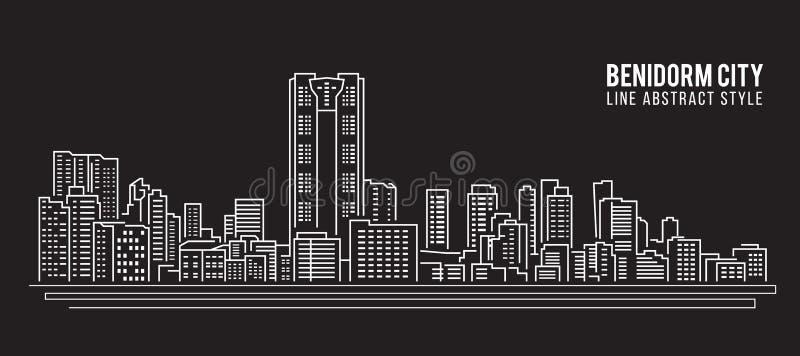 Pejzażu miejskiego budynku Kreskowej sztuki Wektorowy Ilustracyjny projekt - Benidorm miasto royalty ilustracja