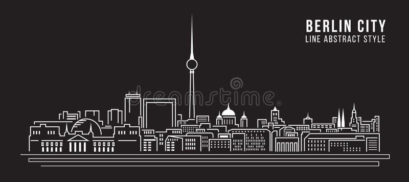 Pejzażu miejskiego budynku Kreskowej sztuki Wektorowy Ilustracyjny projekt - Berliński miasto royalty ilustracja