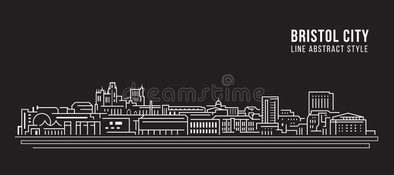 Pejzażu miejskiego budynku Kreskowej sztuki Wektorowy Ilustracyjny projekt - Bristol miasto ilustracja wektor