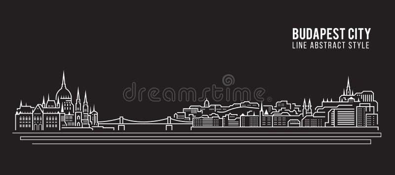 Pejzażu miejskiego budynku Kreskowej sztuki Wektorowy Ilustracyjny projekt - Budapest miasto ilustracji