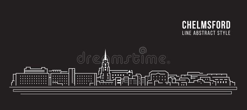 Pejzażu miejskiego budynku Kreskowej sztuki Wektorowy Ilustracyjny projekt - Chelmsford miasto ilustracja wektor