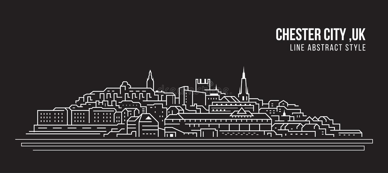Pejzażu miejskiego budynku Kreskowej sztuki Wektorowy Ilustracyjny projekt - Chester miasto, UK ilustracji