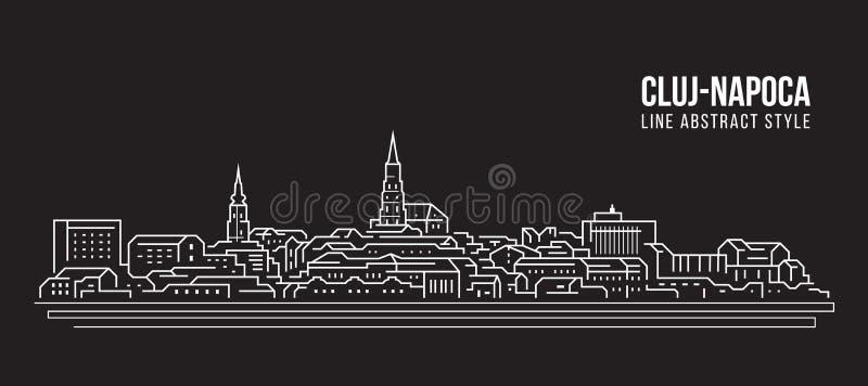 Pejzażu miejskiego budynku Kreskowej sztuki Wektorowy Ilustracyjny projekt - Cluj Napoca miasto royalty ilustracja