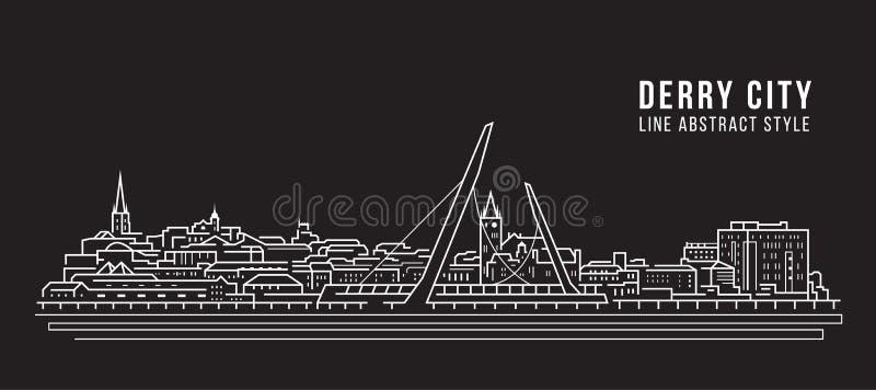 Pejzażu miejskiego budynku Kreskowej sztuki Wektorowy Ilustracyjny projekt - Derry miasto royalty ilustracja