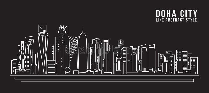 Pejzażu miejskiego budynku Kreskowej sztuki Wektorowy Ilustracyjny projekt - Doha miasto ilustracji