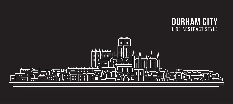 Pejzażu miejskiego budynku Kreskowej sztuki Wektorowy Ilustracyjny projekt - Durham miasto, UK ilustracja wektor