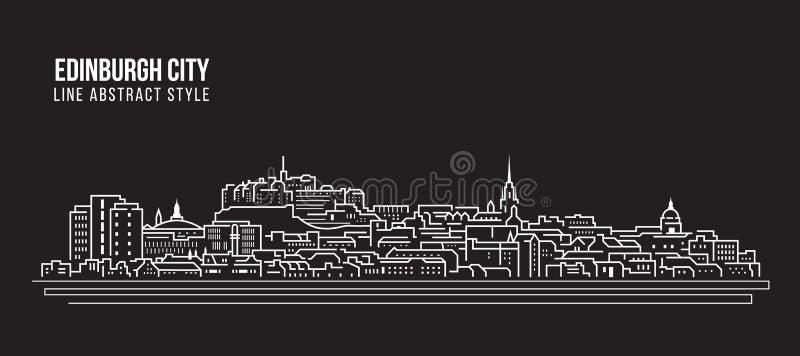 Pejzażu miejskiego budynku Kreskowej sztuki Wektorowy Ilustracyjny projekt - Edynburg miasto royalty ilustracja
