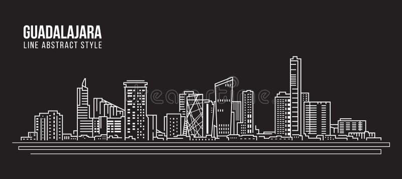 Pejzażu miejskiego budynku Kreskowej sztuki Wektorowy Ilustracyjny projekt - Guadalajara miasto ilustracja wektor