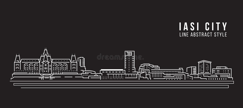 Pejzażu miejskiego budynku Kreskowej sztuki Wektorowy Ilustracyjny projekt - iasi miasto royalty ilustracja