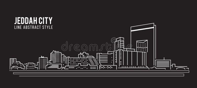 Pejzażu miejskiego budynku Kreskowej sztuki Wektorowy Ilustracyjny projekt - Jeddah miasto ilustracja wektor