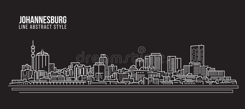 Pejzażu miejskiego budynku Kreskowej sztuki Wektorowy Ilustracyjny projekt - Johannesburg linia horyzontu ilustracja wektor
