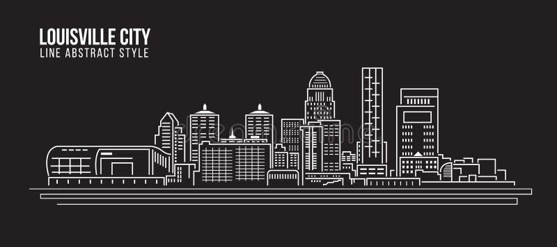 Pejzażu miejskiego budynku Kreskowej sztuki Wektorowy Ilustracyjny projekt - Louisville miasto ilustracja wektor