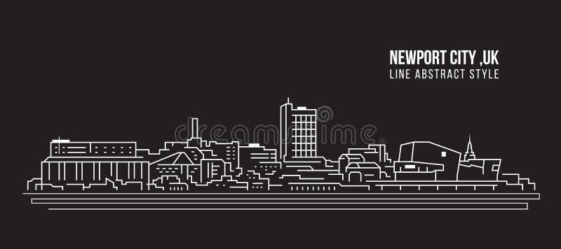 Pejzażu miejskiego budynku Kreskowej sztuki Wektorowy Ilustracyjny projekt - Newport miasto, UK royalty ilustracja