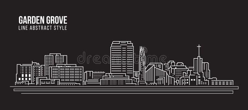 Pejzażu miejskiego budynku Kreskowej sztuki Wektorowy Ilustracyjny projekt - Ogrodowy gaju miasto ilustracji
