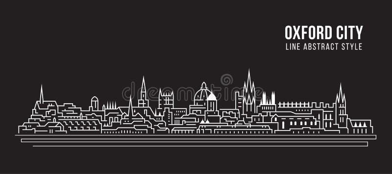 Pejzażu miejskiego budynku Kreskowej sztuki Wektorowy Ilustracyjny projekt - Oksfordzki miasto royalty ilustracja
