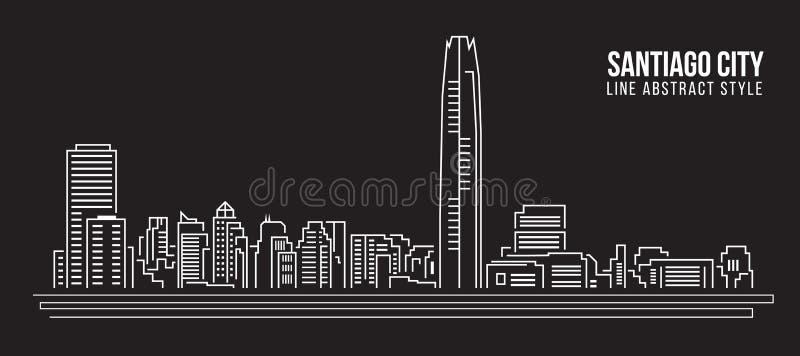 Pejzażu miejskiego budynku Kreskowej sztuki Wektorowy Ilustracyjny projekt - Santiago miasto royalty ilustracja