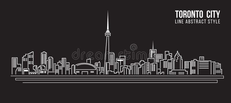 Pejzażu miejskiego budynku Kreskowej sztuki Wektorowy Ilustracyjny projekt - Toronto miasto royalty ilustracja