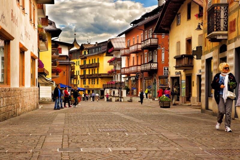 Pejzażu miejskiego Cortina dAmpezzo, Włochy obraz stock