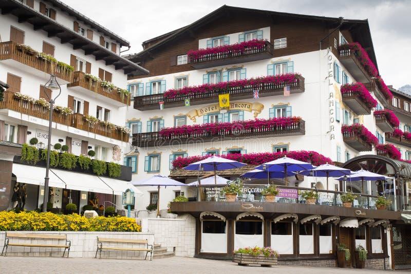 Pejzażu miejskiego Cortina dAmpezzo, Włochy fotografia royalty free