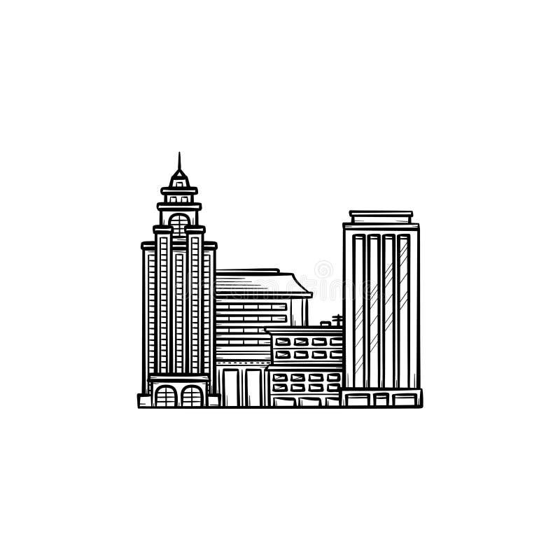 Pejzażu miejskiego konturu doodle ręka rysująca ikona royalty ilustracja