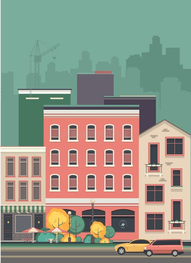 Pejzażu miejskiego miasta ulica ilustracji