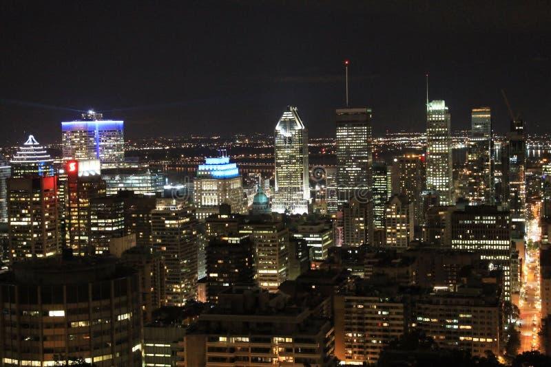 Pejzażu miejskiego Montreal noc zdjęcie royalty free
