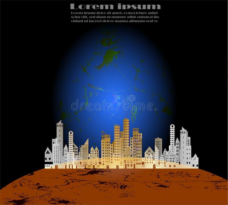 Pejzażu miejskiego papieru styl na brązach planetuje i błękitny planety pojęcie z próbka tekstem na tylnym tle ilustracja wektor