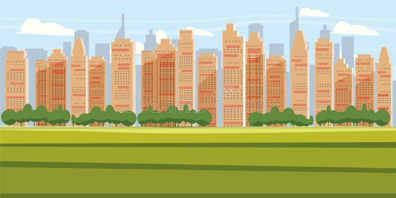 Pejzażu miejskiego tła miasta Nowożytna panorama Z Nadmierną drapacz chmur linia horyzontu sylwetki kreskówki wektoru ilustracją ilustracja wektor