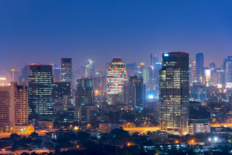 Pejzażu miejskiego widok Bangkok nowożytny biurowy biznesowy budynek obrazy stock