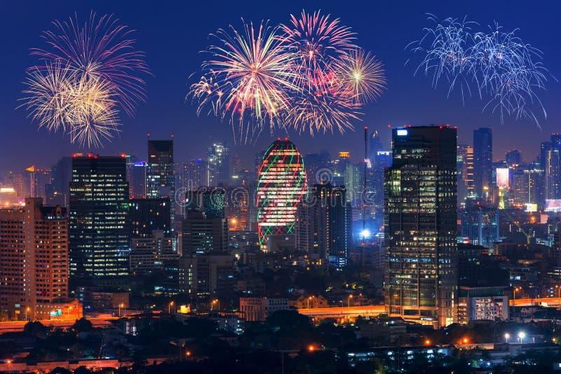 Pejzażu miejskiego widok Bangkok nowożytny biurowy biznesowy budynek obraz royalty free