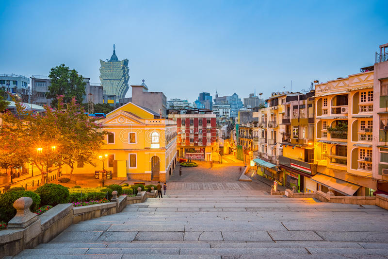 Pejzażu miejskiego widok Macau, Chiny obrazy stock