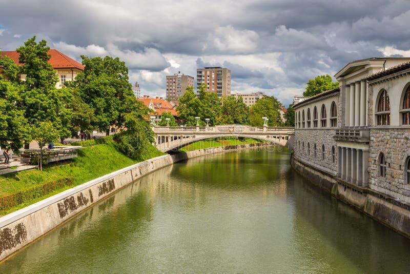 Pejzażu miejskiego widok na Ljubljanica rzece w Ljubljana starym miasteczku obraz royalty free