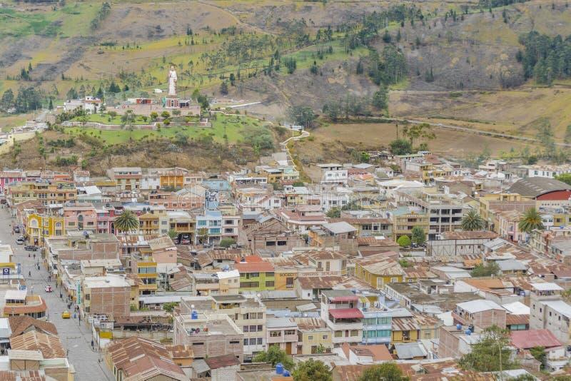 Pejzażu miejskiego widok z lotu ptaka Alausi Ekwador obrazy stock