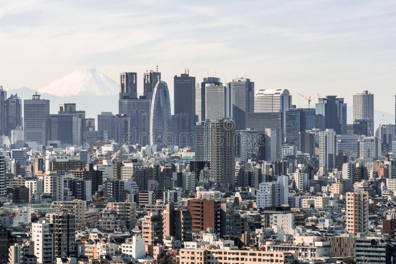 Pejzażu miejskiego widok z lotu ptaka Shinjuku teren z biznesowymi budynkami okręgi i domami, Fuji góra w tle obraz royalty free