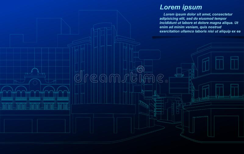 Pejzażu miejskiego wireframe ilustracja wektor