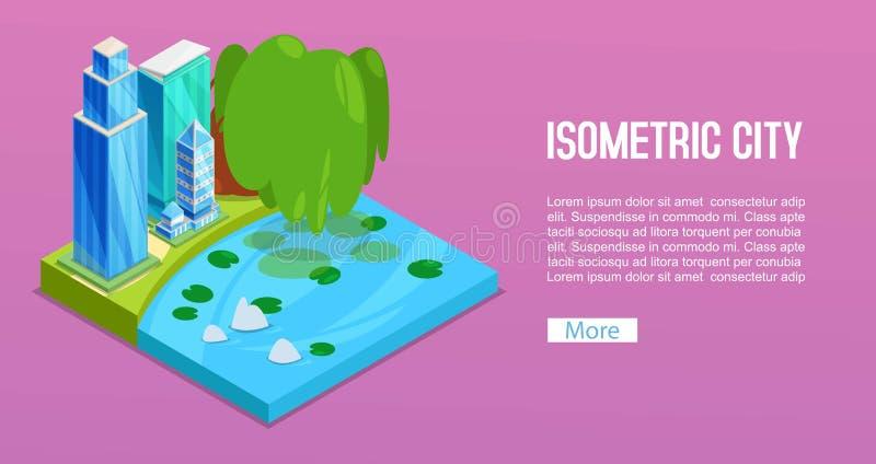 Pejzaży miejskich elementy z miastem, drzewem i stawem isometric budynków, Odosobniony zielony miasto 3d dla nieruchomości reklam ilustracja wektor