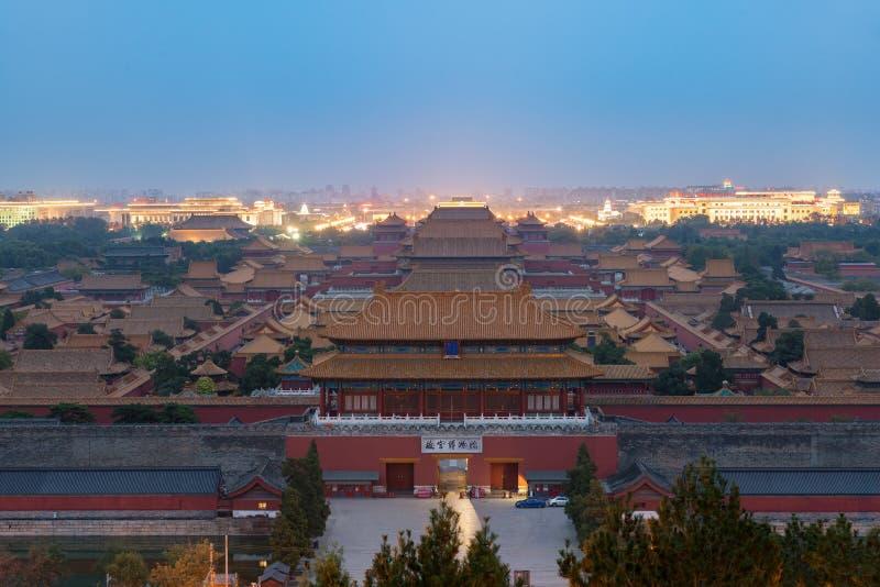 Pekín la ciudad Prohibida antigua en noche en Pekín, China foto de archivo libre de regalías