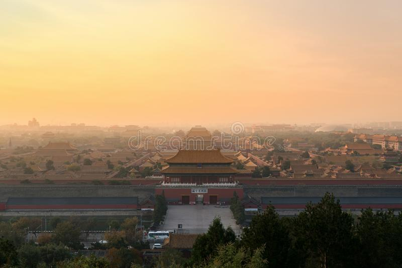 Pekín la ciudad Prohibida antigua por mañana en Pekín, China imagen de archivo libre de regalías