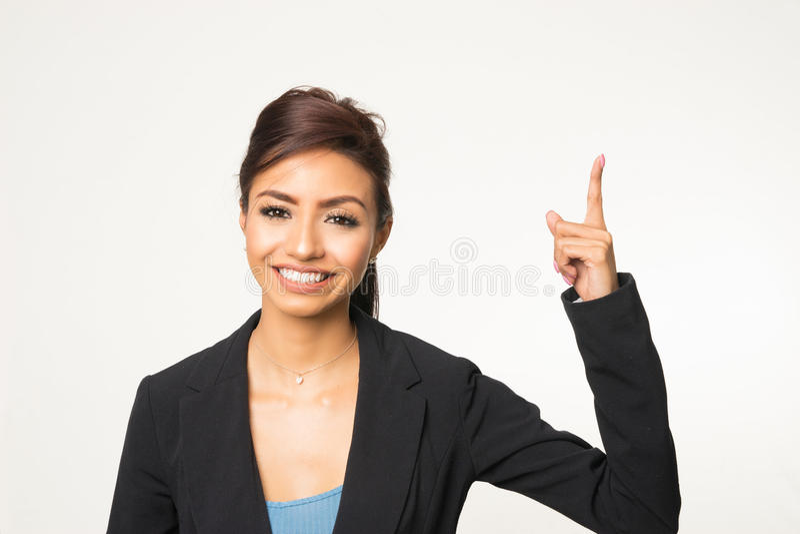 Peka att le för kvinna arkivbilder