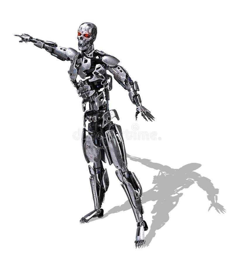 Peka för Chrome robot royaltyfri illustrationer