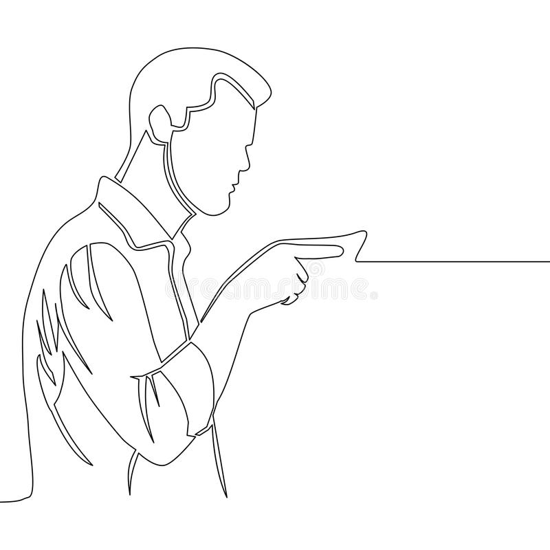 peka för fingerman Fortlöpande linje teckning royaltyfri illustrationer